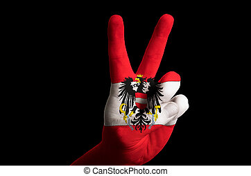 austria national flag two finger up gesture for victory and winn