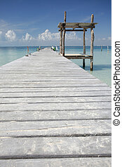 Tropical Boardwalk - Wooden jetty in tropical sea
