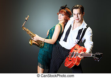 musicians - Couple of professional musicians in retro style...