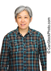 mature asian woman over white background
