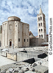 Roman forum and church in the center of Zadar, Croatia -...