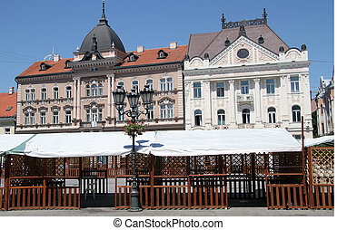 Novi Sad - Old buildings on the main square of Novi Sad,...