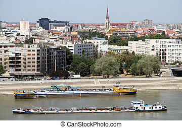 Barges on the river in Novi Sad, Serbia