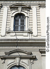 Crack on facade - Crack on the facade of church in Subotica,...