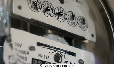 Electrical Meter Counting Up the El - Close up shot of a...