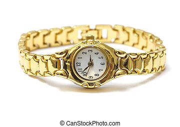 golden wrist watch - Woman golden wrist watch isolated on...