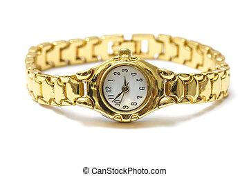 golden wrist watch - Woman golden wrist watch isolated on...