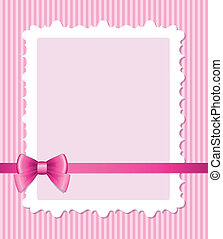 pink frame with bow - frame with glossy bow on pink striped...