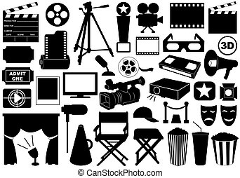 Movie Related Elements - Movie related elements isolated on...
