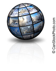 3d sphere with winter photos - Sphere with winter landscapes...