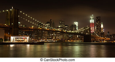 Panoranic view of Manhattan skyline by night from Brooklyn...
