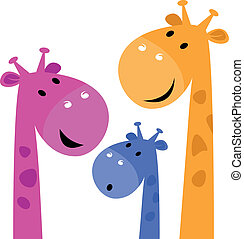Giraffe colorful family isolated on white - Group of...
