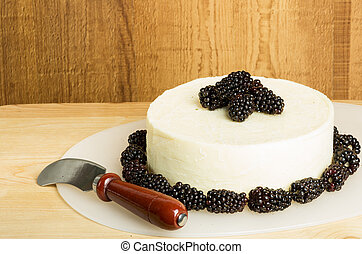 Round of fresh cheese with knife and berries