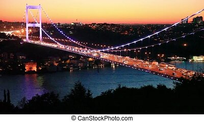 bridge - Fatih Sultan Mehmet Bridge at evening