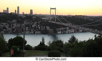 bridge - Fatih Sultan Mehmet Bridge at sunset, pan shoot