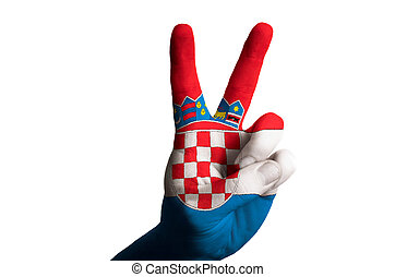 croatia national flag two finger up gesture for victory and winn