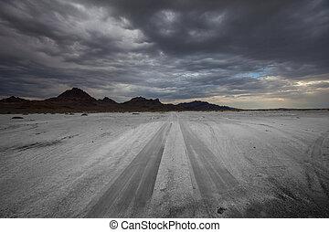 Road in salt desert