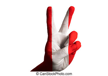 peru national flag two finger up gesture for victory and winner