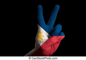 philippines national flag two finger up gesture for victory and