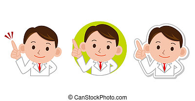 Portrait of doctor pointing at white background