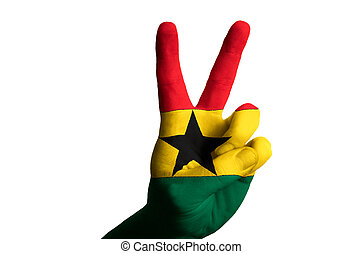 ghana national flag two finger up gesture for victory and winner