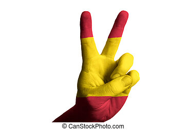 spain national flag two finger up gesture for victory and winner