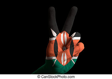 kenya national flag two finger up gesture for victory and winner