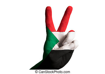 sudan national flag two finger up gesture for victory and winner