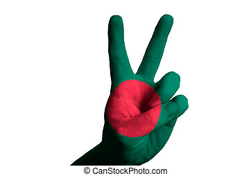 bangladeshi national flag two finger up gesture for victory and