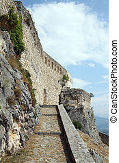 Stone wall of old fortress in Knin, Croatia