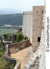Fortress in Knin - Wall and towers of old fortress in Knin,...
