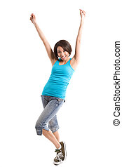 Happy woman - An isolated shot of a happy beautiful young...