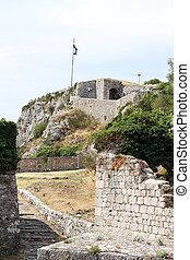 Old fortress - Flag and old fortress in Knin, Croatia