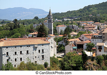 Old Pazin - View of castle and houses in Old Pazin, Istria,...