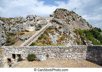 Stone walls of old fortress in Knin, Croatia