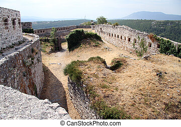 Inside old fortress on the rock in Knin, Croatia