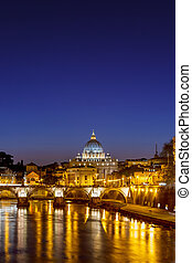 St Peters cathedral at night, Rome - Night view at St Peters...