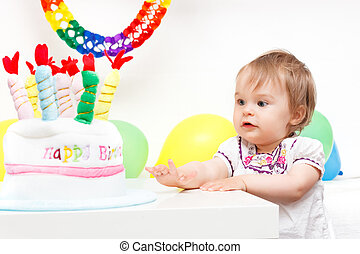 Little girl celebrating first birthday