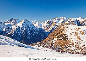 Ski resort in French Alps - View over ski resort in French...