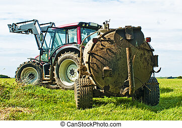 tractor with dung trailer
