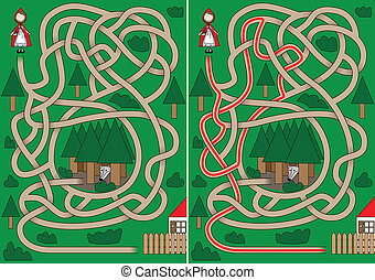 Little Red Riding Hood maze for kids with a solution