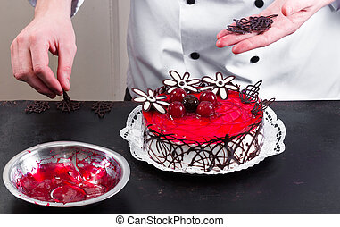 Confectioner and a cake - Confectioner and a beutiful cake