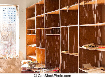 Bright room with water pouring down