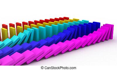 Domino - 3D rendering of falling blocks representing a...