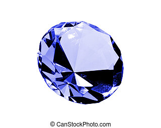 Isolated Sapphire - A close up on a sapphire isolated on a...