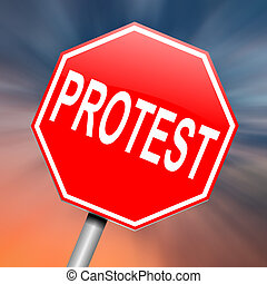 Protest concept. - Illustration depicting a roadsign with a...