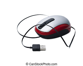 usb maus rot vor hintergrund weiss - maus rot mit usb kabel