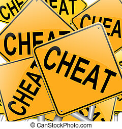 Cheat concept. - Illustration depicting many roadsigns with...