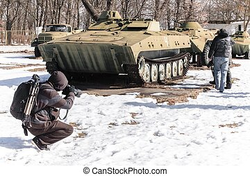 Military vehicle in chernobyl in the winter