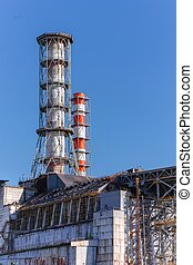 The Chernobyl Nuclear power plant against blue sky